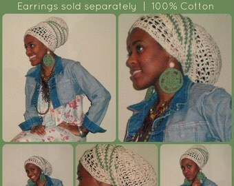 crochet headwrap headdress tam dreadlock african regal rasta bohemian - Made To Order  -GONE B4 SUMMER
