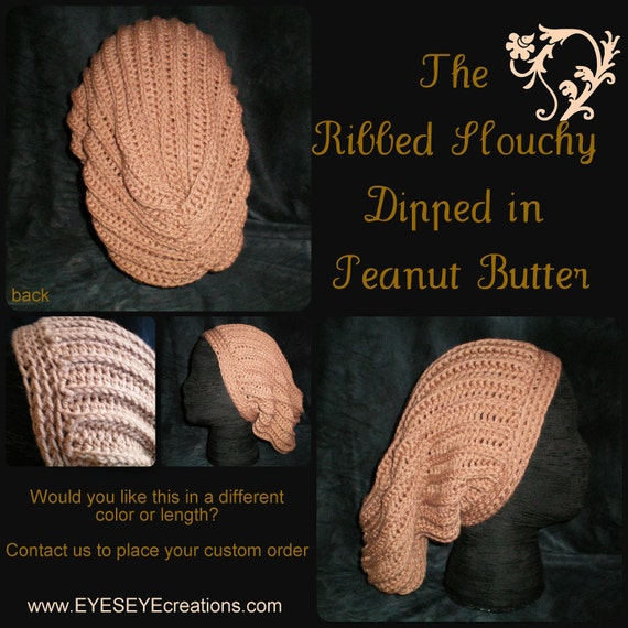 The Ribbed Slouchy Dipped in Peanut Butter - Made-to-Order (long beanie slouchie crochet hat)