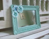 Shabby Chic Mirror Frame Sea Glass Green 5x7 Ornate Victorian Floral