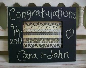 Chalk Board Frame Wedding Shower Bridal Gift Bride Groom Engagement 5x7 Photo Custom