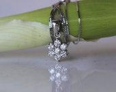 SALE Real Genuine 0.50 Carat Round white diamond spring flower / cluster stud necklace/ bridal fashion / weeding gift /14K white GOLD