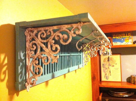 Turquoise Shabby Chic Shutter Shelf & Jewelry Hanger. Hooks Made with Chandelier Arms and Crystals