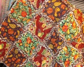 Harvest, Fall, Thanksgiving  Baby Rag Quilt / Throw Homemade Oranges, Browns,and greens