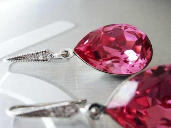 Pink Earrings - Hot Pink Earrings - Bridesmaids Earrings - Ear wires Cubic Zirconia