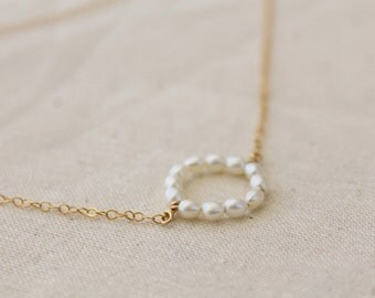 Pearl circle necklace - white freshwater rice pearls - delicate gold fill chain - ring round pendant - modern minimalist simple