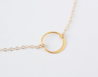 Modern circle choker - tiny 24k gold hammered pendant - 14k delicate gold filled chain - minimalist jewelry by fildee