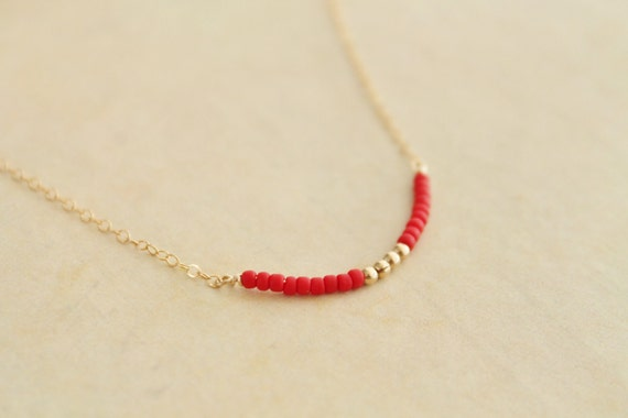 Delicate red and gold necklace - tiny seed beads and 14k gold filled chain - modern minimalist chic jewelry