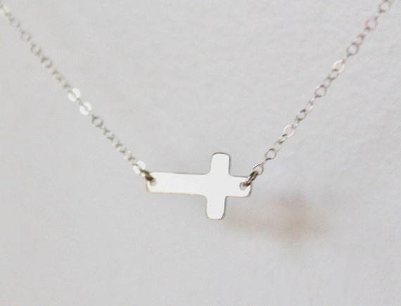 Sideways silver cross necklace - sterling silver chain - delicate pendant - modern minimalist simple jewelry by fildee