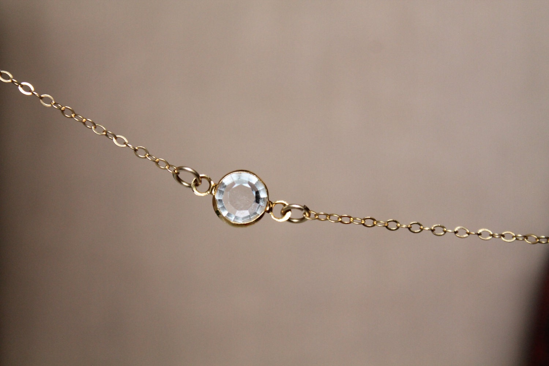 tiny glass clear minimalist choker delicate gold