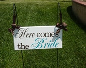 Here Comes the Bride...Just Married...they lived happily ever after...two sided sign... last minute orders okay...custom colors available