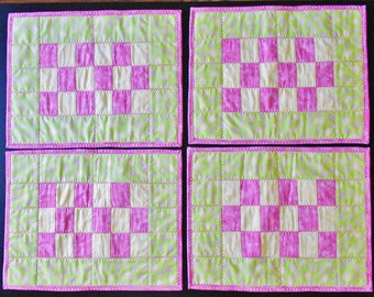 Pink, Green, and Yellow Floral Checkerboard Placemats (Set of 4)