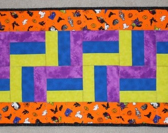Halloween Monsters Green, Blue, and Purple Zig Zag Table Runner