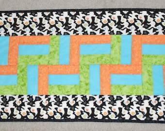 Halloween Ghosts Green, Blue, and Orange Zigzag Table Runner