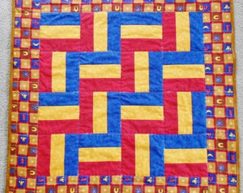 Red, Blue, and Gold Cowboy Zigzag Baby Quilt