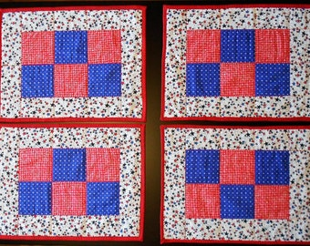 Americana Red, White, & Blue Star Checkerboard Placemats (Set of 4)