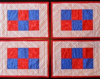 Americana Red, White, & Blue Diagonal Striped Checkerboard Placemats (Set of 4)