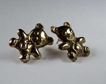 earstuds bears earrings -  sterling silver .925 in vermeil gold colour - handmaded , vintage piece from the 80s