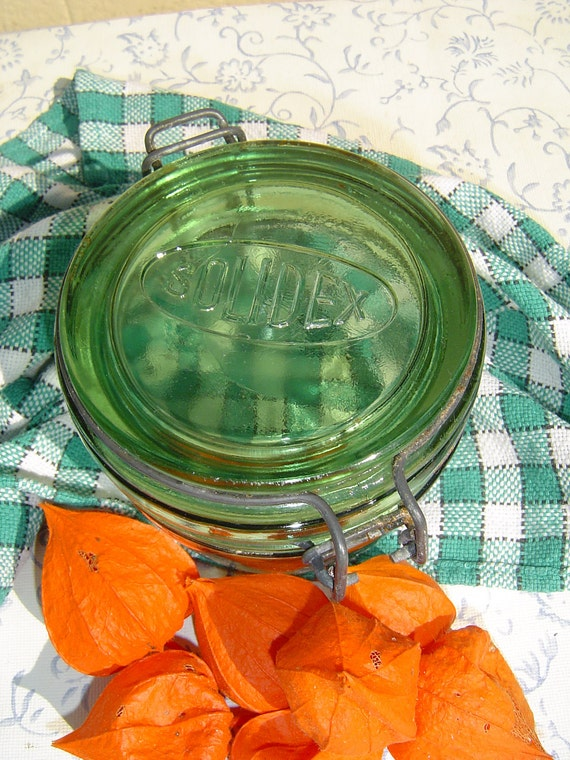 Great Green Glass Storage Jar  Solidex France
