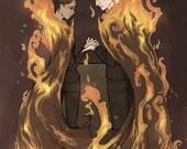 Kids on Fire - Katniss Everdeen and Peeta Mellark - The Hunger Games - 7x10'' print