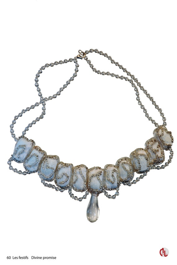 """Textile jewellery """"Divine promise"""". Lightweight, semi-rigid ensemble of creased materials, enhanced by rocaille pearls"""