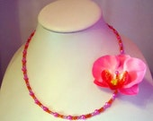 Necklace Hot pink and orange fabric orchid corsage by JulieDeeleyJewellery on Etsy