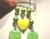 Green and Yellow Glass Heart Bead and Green Pearl Fashion Trend Kilt Pin Brooch by JulieDeeleyJewellery on Etsy Ladies Jewelry
