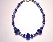 Dark Blue Crystal Bracelet Blue & Gold Rocailles by JulieDeeleyJewellery on Etsy Modern Elegant Ladies Jewelry