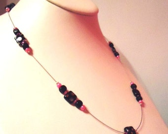Black Square Polka Dot Necklace peacock Bead and hot pink pearl rocaille Illusion Floater by JulieDeeleyJewellery on Etsy Ladies Jewelry