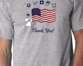 "American flag military ""Thank you"" tee."