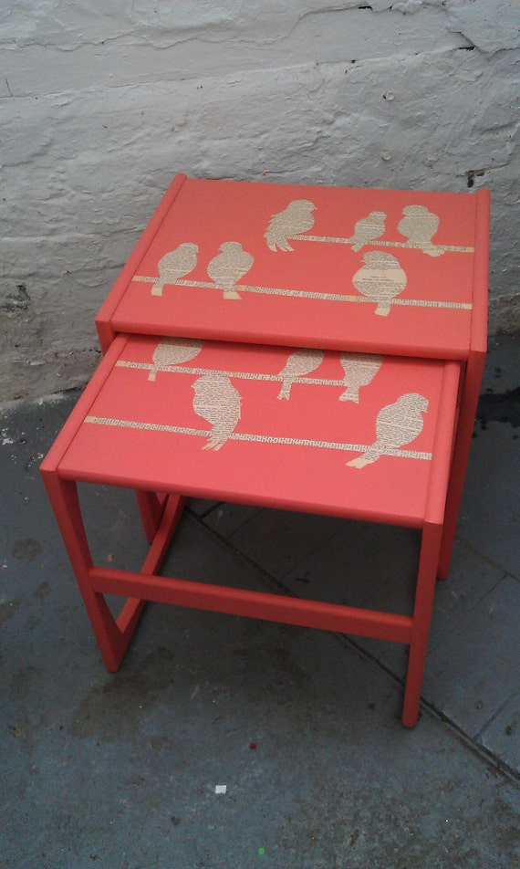 Upcycled peach birdy side tables (pair)