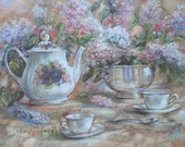Floral tea cups Still life Print   Reproduction painting  teapot lilac tea time 11x14