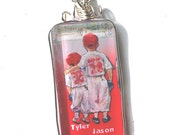 "Baseball ""Someday...Little Brother"" Personalized necklace Pendant wire wrap silver glass Red"