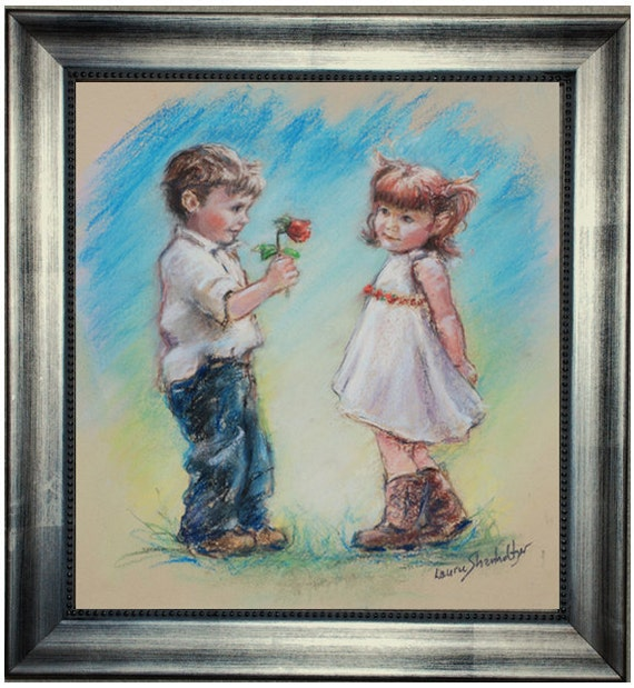 Love You Original Painting Boy And Girl Valentine Couple