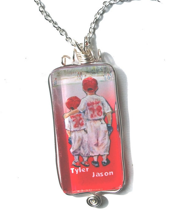 """Baseball """"Someday...Little Brother"""" Personalized necklace Pendant wire wrap silver glass Red"""