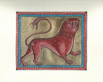 Medieval Lion. Handmade painting.
