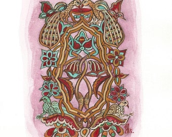 MEDIEVAL FLORAL DECORATION. Handmade painting. Available