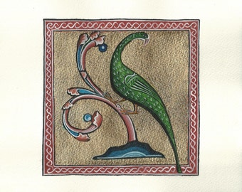 Medieval Bird. Hand painting.