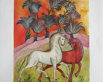 UNICORNS TALE. Original watercolor handmade painted.