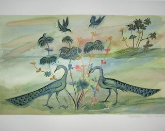 PEACOCKS TALE. Original watercolor handmade painted. Available.