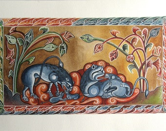 Lions in medieval decor. Original watercolor handmade painted.