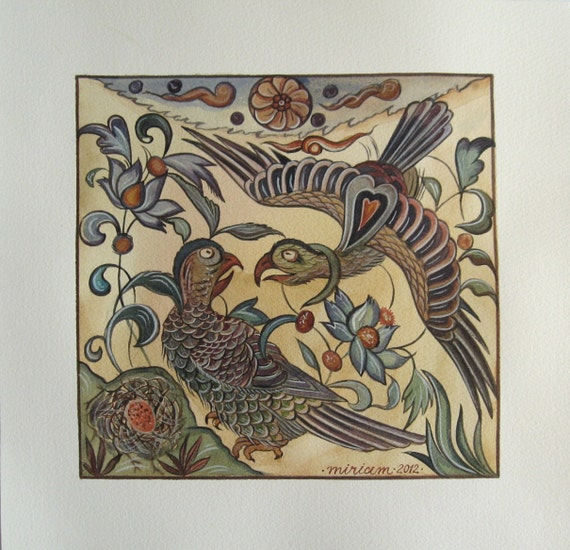 Family of eagles. Original watercolor handmade painted.