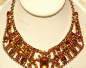 RESERVED FOR EVELYN - Weiss Colorado Topaz Rhinestone Bib Necklace Vintage