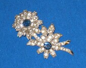 Eisenberg Clear and Blue Rhinestone Flower Brooch Signed Vintage
