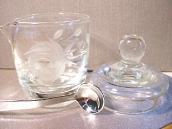 Cut Rose Crystal Glass Jam Jar, Lid and Spoon 3 Pc Vintage