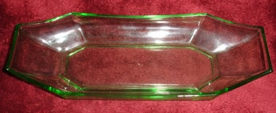 Heisey Green Octagonal Moongleam Depression Glass Plate