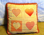 Hand Embroidered Heart Pillow