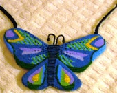 On Reserve for Lauren:Needlepoint Butterfly Necklace