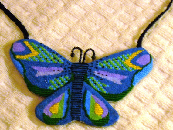Needlepoint Butterfly Necklace