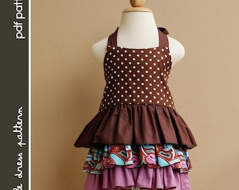 Brandy Dress - PDF Pattern - Size 12 months to 8 years old and tutorial, PDF Downloadable, Easy Pattern