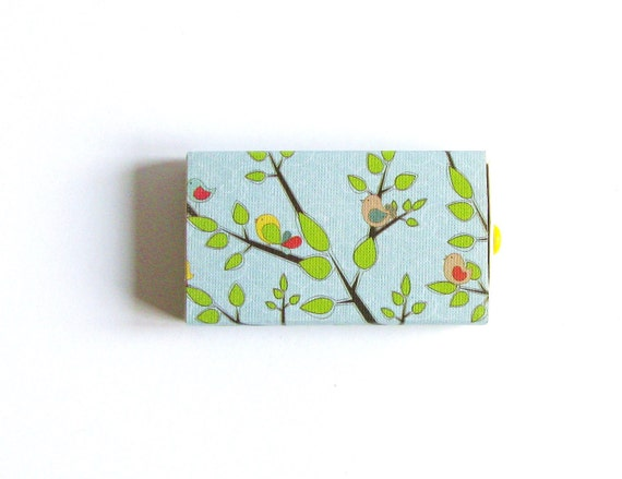 Small Gift Box Birds Trees Nature Small Jewelry Box Altered Slide Box